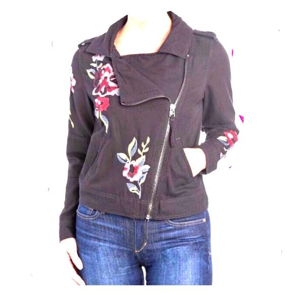 Kensie Jackets & Blazers - Kensie denim Black embroidered Moto jacket